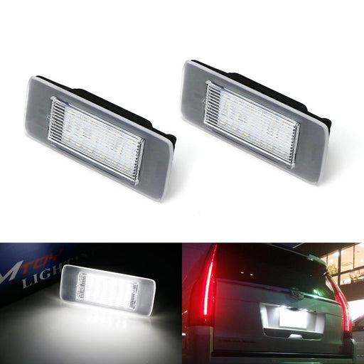 OEM-Fit 3W Full LED License Plate Light Kit For 15-up Cadillac Escalade ATS, GMC Yukon, Chevrolet Tahoe Suburban Equinox, 16-up Malibu, Powered by 18-SMD Xenon White LED & Can-bus Error Free-iJDMTOY