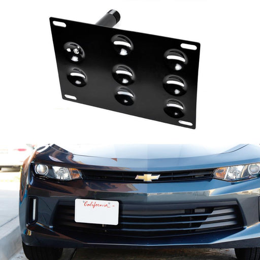 No Drill Front Bumper Tow Hook License Plate Mounting Bracket Adapter Kit For 2016-2018 Chevrolet Camaro 6th Gen-iJDMTOY