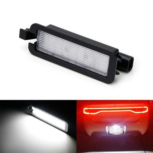 OEM-Fit 3W Full LED License Plate Light Kit For 2015-up Dodge Charger Challenger, Chrysler 300 & Pacifica, Powered by 18-SMD Xenon White LED-iJDMTOY
