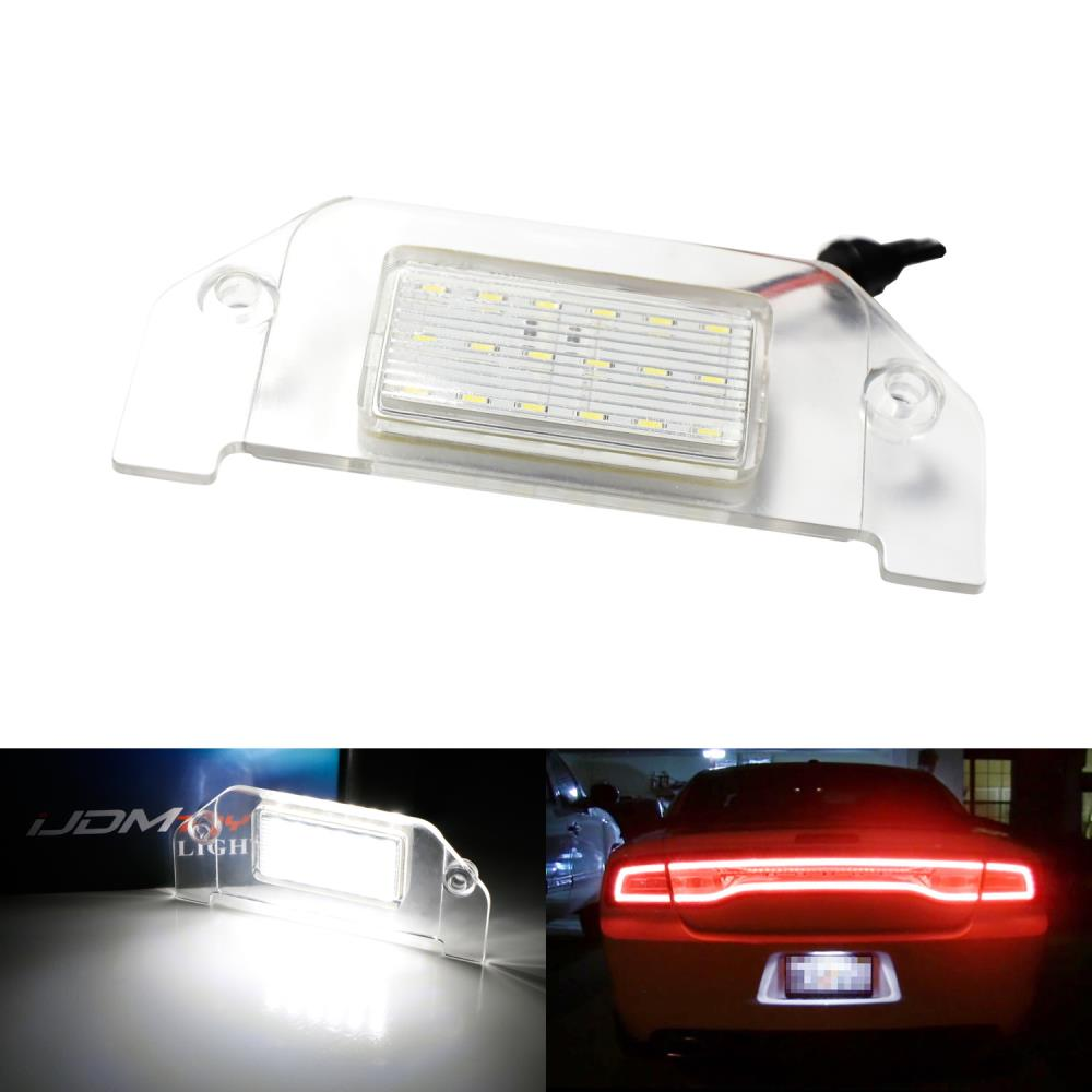 OEM-Fit 3W Full LED License Plate Light Kit For 2005-2014 Dodge Charger Challenger Dart Avenger Magnum, Powered by 18-SMD Xenon White LED-iJDMTOY