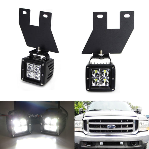 LED Pod Light Fog Lamp Kit For 1999-04 Ford F250 F350 F450 Super Duty, Includes (2) 20W CREE LED Cubes, Lower Bumper Fog Location Mounting Brackets & On/Off Switch Wiring Kit-iJDMTOY
