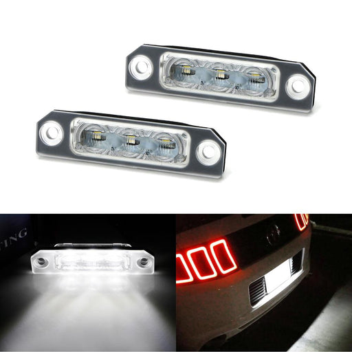 OEM-Fit 3W Full LED License Plate Light Kit For 2011-14 Ford Mustang, 2009-18 Ford Flex, 2008-17 Ford Focus, Powered by 3-piece Osram Xenon White LED-iJDMTOY