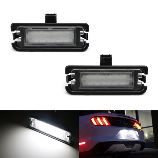 OEM-Fit 3W Full LED License Plate Light Kit For 2015-up Ford Mustang, Powered by 18-SMD Xenon White LED-iJDMTOY
