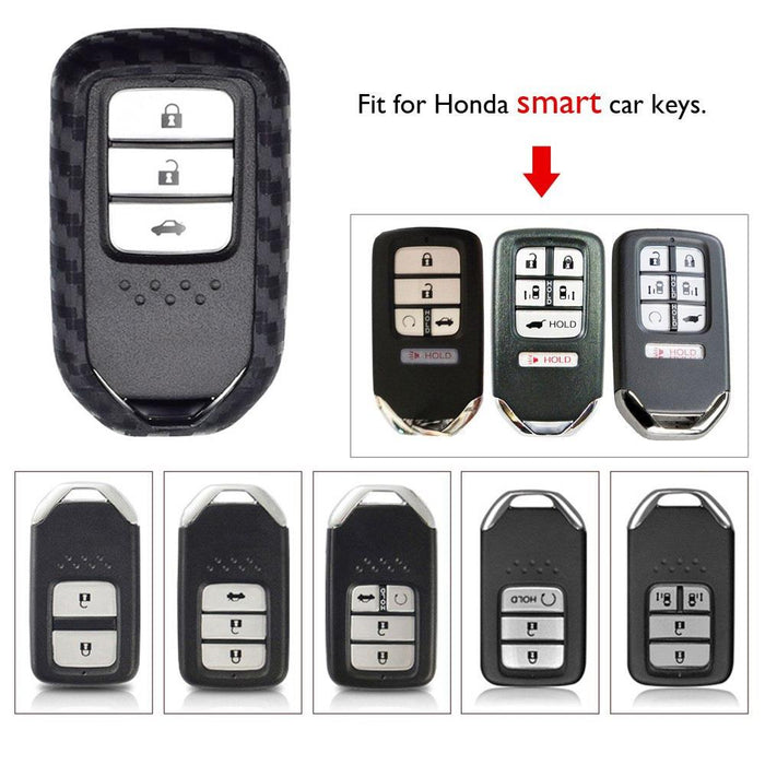 Key Fob Case for Honda Accord Civic CRV Pilot Odyssey,etc Smart Premium Soft TPU Full Cover Protection Smart Remote Keyless Key Fob Shell Silver COMPONALL for Honda Key Fob Cover