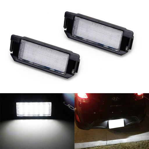 OEM-Fit 3W Full LED License Plate Light Kit For 11-up Hyundai Veloster, 09-up Hyundai Genesis Coupe, 09-up Kia Soul, Powered by 18-SMD Xenon White LED-iJDMTOY
