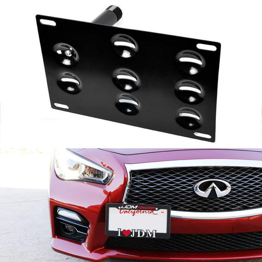 No Drill Front Bumper Tow Hook License Plate Mounting Bracket Adapter Kit For 2008-2015 Infiniti G35 G37 Q60, 2014-up Infiniti Q50, 2007-2018 Nissan GT-R & 2013-2018 Nissan 370Z-iJDMTOY