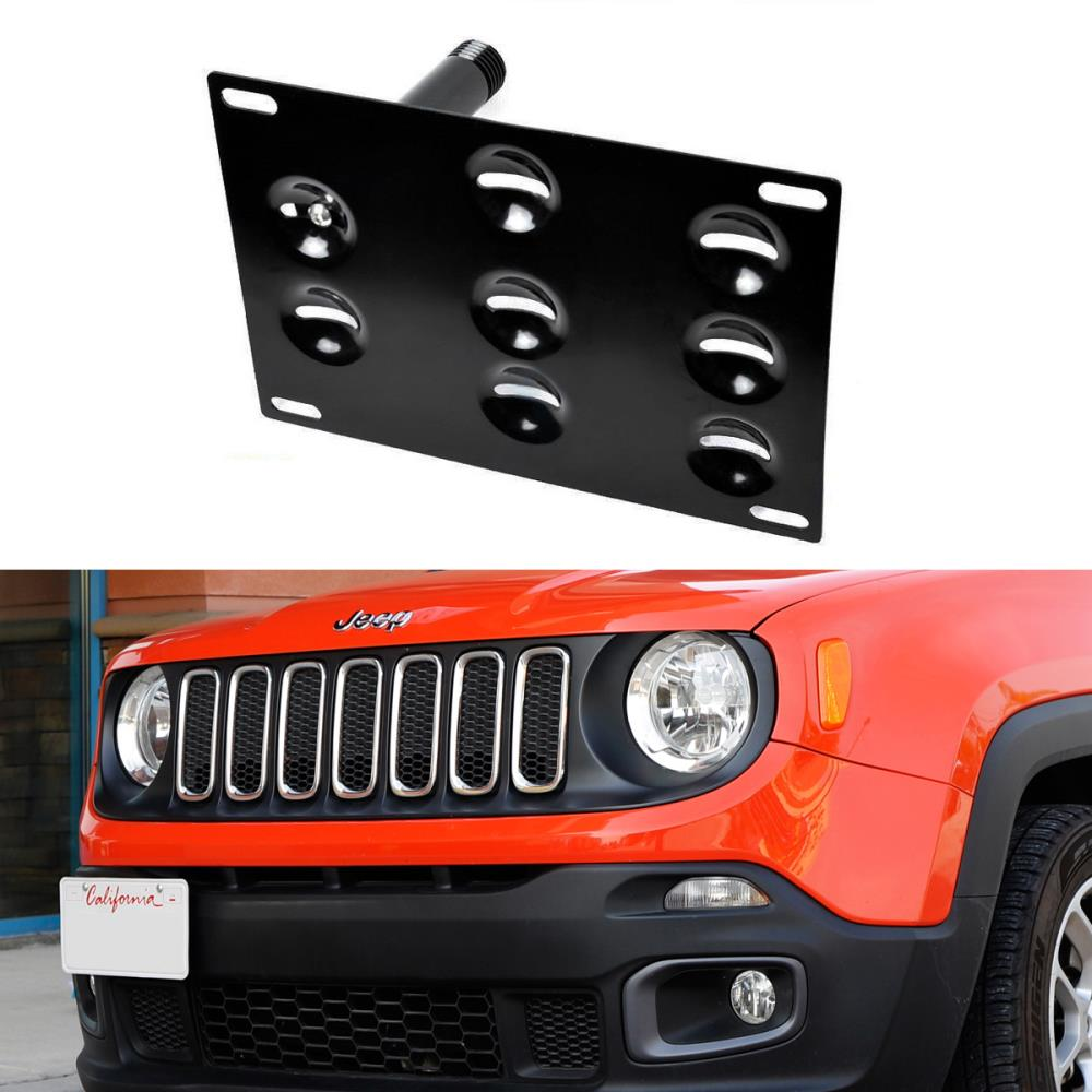 No Drill Front Bumper Tow Hook License Plate Mounting Bracket Adapter Kit For 2015-up Jeep Renegade Latitude Sport Limited (Except Trailhawk)-iJDMTOY