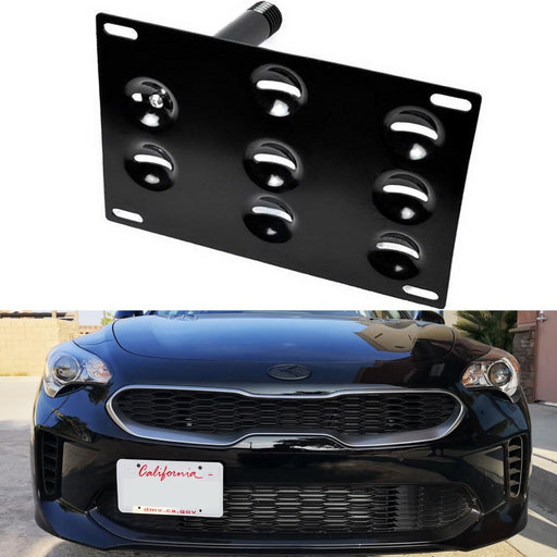 No Drill Front Bumper Tow Hook License Plate Mounting Bracket Adapter Kit For 2018-up Kia Stinger-iJDMTOY