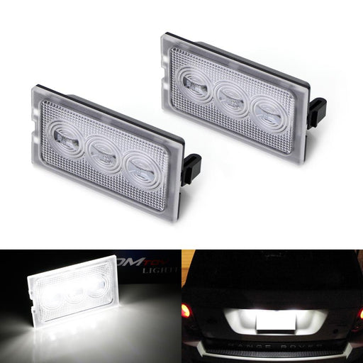 OEM-Fit 3W Full LED License Plate Light Kit For 2005-13 Ranger Rover Sport, Discover LR3 LR4 & 06-14 Freelander 2 LR2, Powered by 3-piece Osram Xenon White LED-iJDMTOY
