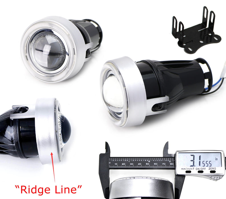 """3/"""" Round Projector Clear Lens Halo Fog Light H11 Lamps Switch Mounting Bracket"""