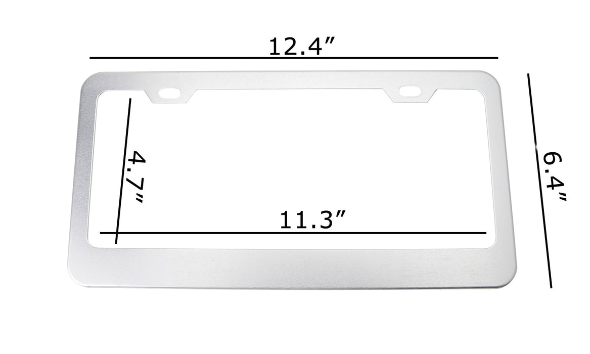 iJDMTOY 2pc Premium Satin Silver Slim 2-Hole License Plate Frame with Screws//Fasteners and Chrome Polish Caps