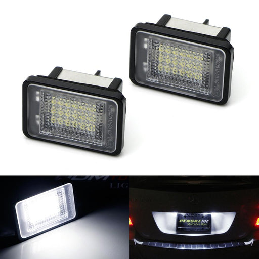 OEM-Fit 3W Full LED License Plate Light Kit For 2010-12 Mercedes X204 GLK-Class, Powered by 18-SMD Xenon White LED & Can-bus Error Free-iJDMTOY