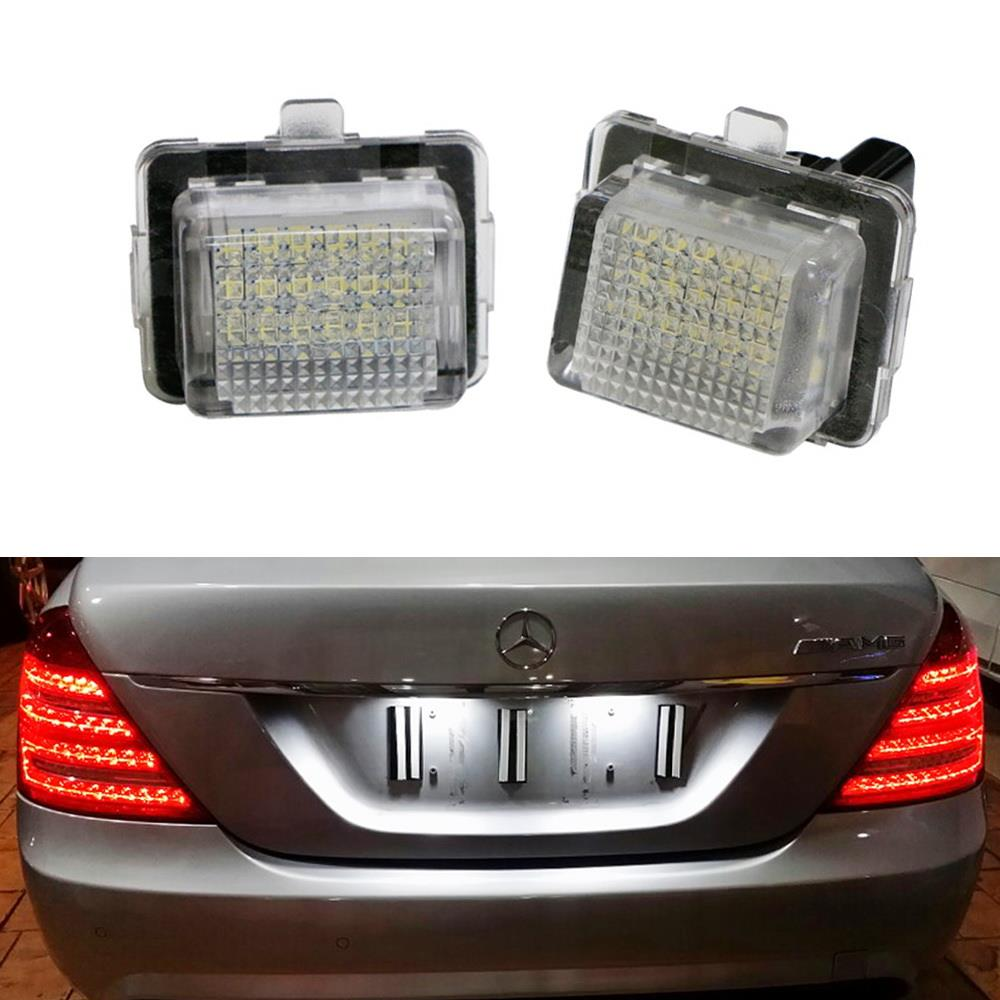 OEM-Fit 3W Full LED License Plate Light Kit For Mercedes-Benz C CLS CLA E S  SL SLK Class, Powered by 18-SMD Xenon White LED & Can-bus Error Free