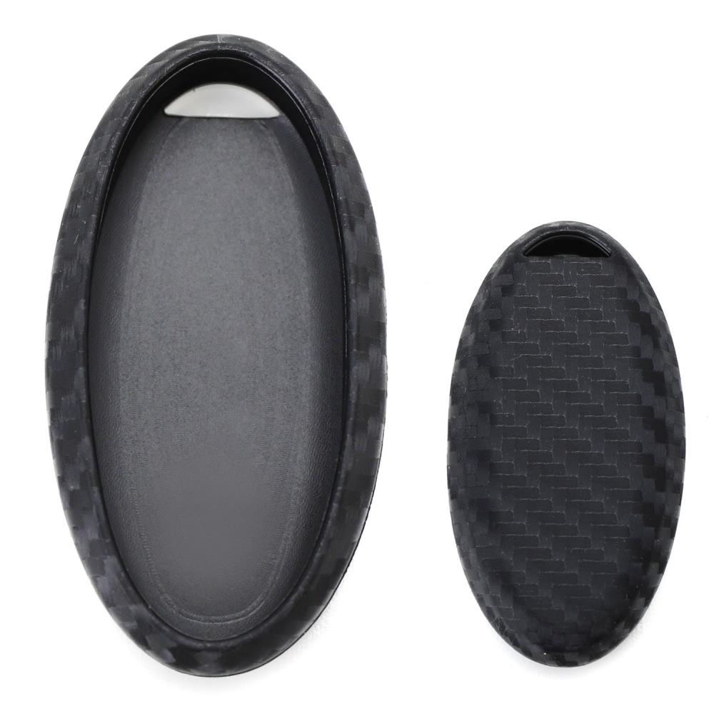 Carbon Fiber Finish Soft Silicone Key Fob Cover Case For Nissan or Infiniti  Oval Shape Keyless Smart Key