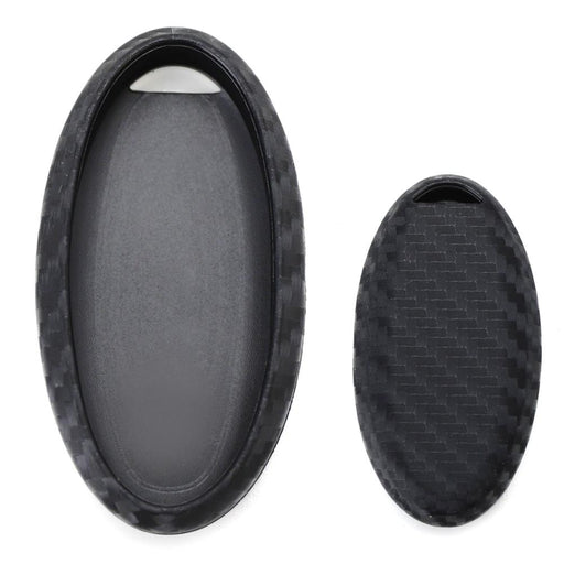 Carbon Fiber Pattern Soft Silicone Key Fob Cover Case For Nissan or Infiniti Oval Shape Keyless Smart Key-iJDMTOY