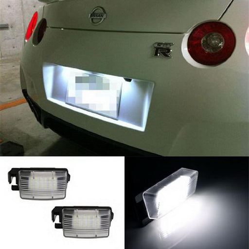 OEM-Fit 3W Full LED License Plate Light Kit For Nissan 350z 370z GT-R Cube Leaf Sentra Versa Infiniti G25 G35 G37 Q60, Powered by 18-SMD Xenon White LED-iJDMTOY