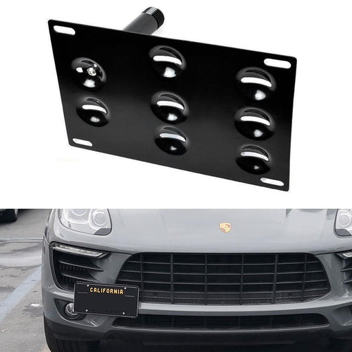 No Drill Front Bumper Tow Hook License Plate Mounting Bracket Adapter Kit for 14-up Porsche Macan, 16-up Audi Q7-iJDMTOY