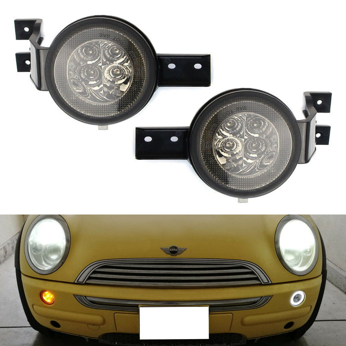 Clear or Smoked Lens White LED DRL Parking Light/Turn Signal Assy For 02-06 MINI Cooper R50 R53 Hatchback & 05-08 R52 Convertible, OEM Fit White Daytime Running Lights & Amber Turn Signal Lamps