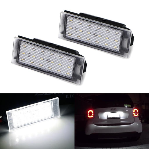 OEM-Fit 3W Full LED License Plate Light Kit For 2016-up Smart W453 Fortwo, Powered by 18-SMD Xenon White LED & Can-bus Error Free-iJDMTOY