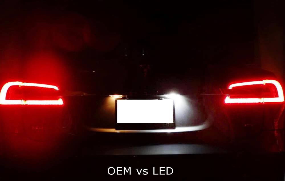 OEM-Fit 3W Full LED License Plate Light Kit For 2012-2016 Tesla Model S, Powered by 18-SMD Xenon White LED & Can-bus Error Free-iJDMTOY