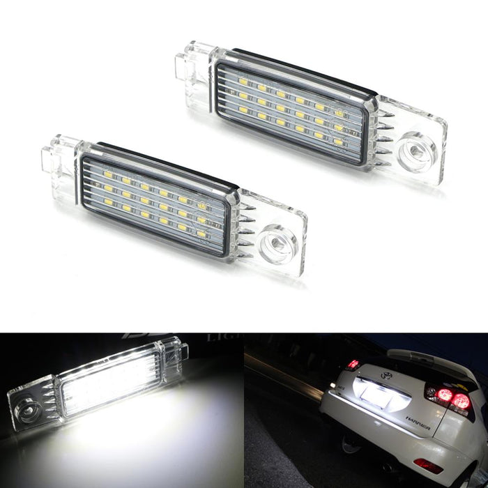 OEM-Fit 3W Full LED License Plate Light Kit For 2008-13 Toyota Highlander & 99-03 Lexus RX300, Powered by 18-SMD Xenon White LED-iJDMTOY