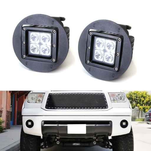 LED Pod Light Fog Lamp Kit For Toyota Tundra Tacoma Sequoia Solara, Includes (2) 20W High Power CREE LED Cubes, Foglight Location Mounting Brackets & Wiring/Adapter Harnesses-iJDMTOY