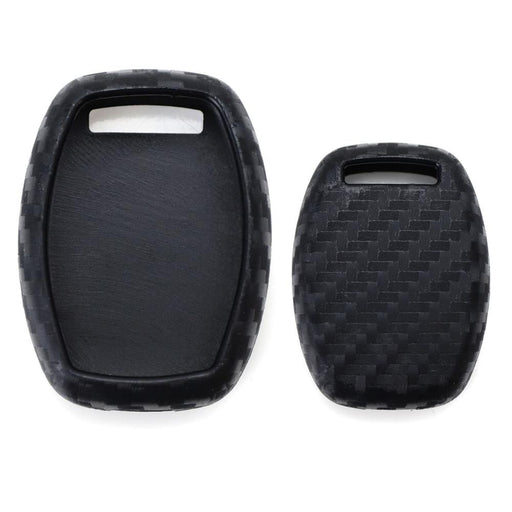 Carbon Fiber Pattern Soft Silicone Key Fob Cover Case For Honda Accord Civic CRV CRZ FIT Insight Pilot Odyssey Ridgeline, etc 2 3 4 Button Key-iJDMTOY