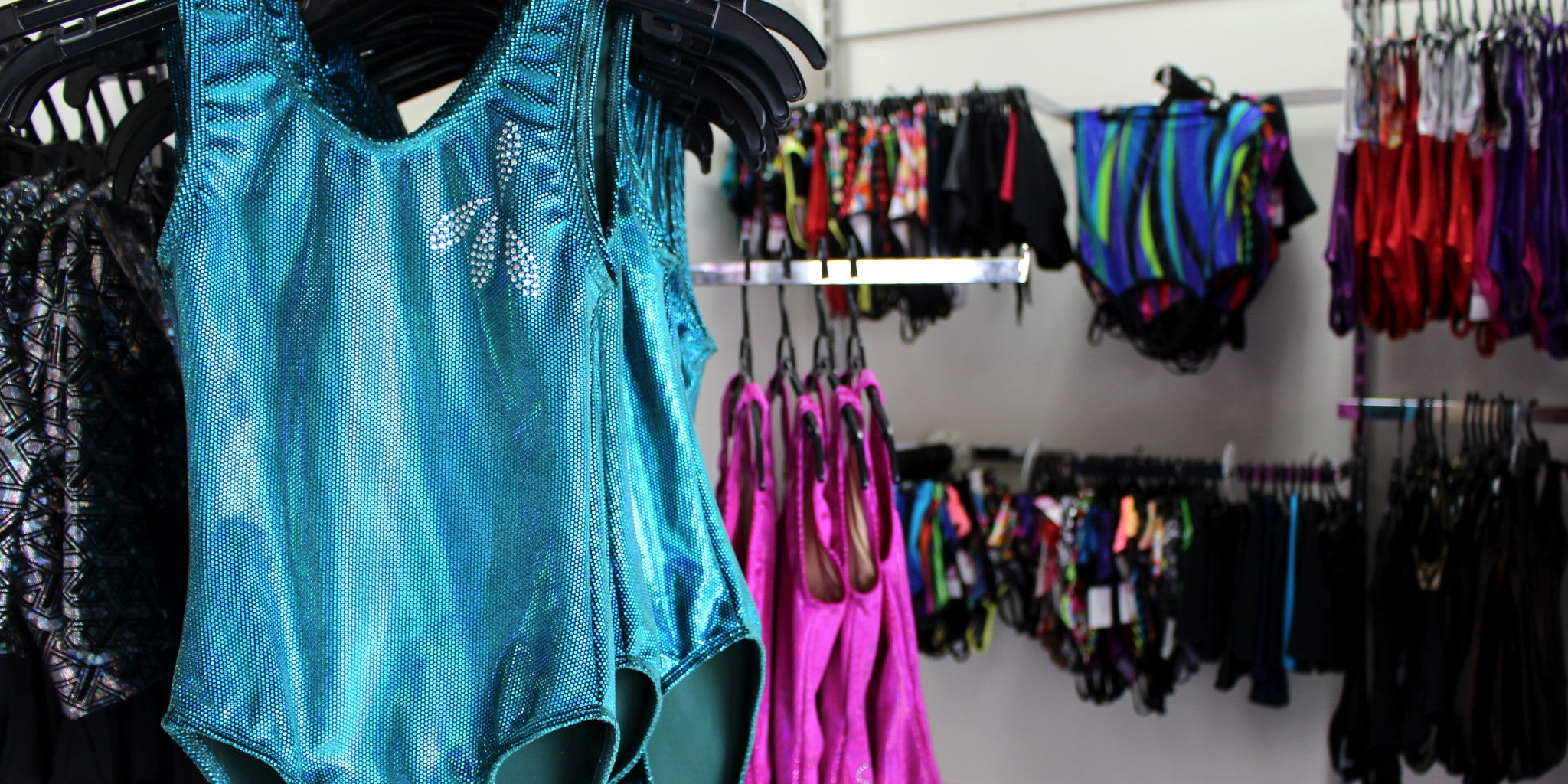 K-Lee Designs factory outlet store in Brisbane northside at Brendale showing a variety of gymnastics and dance gear
