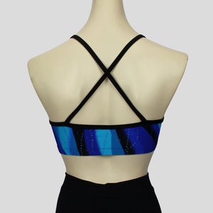 blue swirl waves pattern short crop top with cross-over black straps