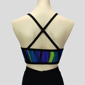 blue and green swirl waves pattern short crop top with cross-over black straps