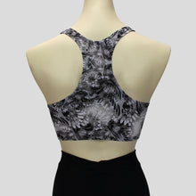 Load image into Gallery viewer, black and white chrome chic pattern crop top in a sportsback style