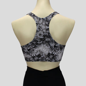 black and white chrome chic pattern short crop top