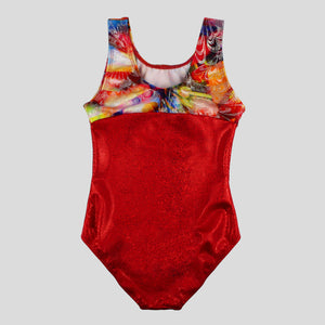 back of the limited edition foiled multiprint red leotard for gymnastics