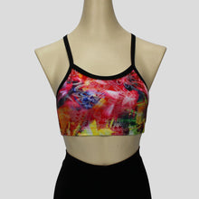 Load image into Gallery viewer, foiled multiprint short crop top with black cross straps