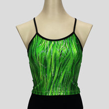 Load image into Gallery viewer, green glittery grass swirls long crop top with black straps