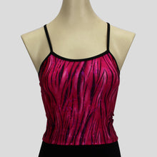 Load image into Gallery viewer, pink glittery grass swirls long crop top with black straps
