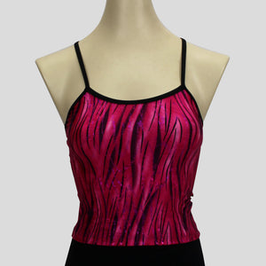 pink glittery grass swirls long crop top with black straps