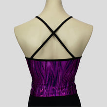 Load image into Gallery viewer, purple glittery grass swirls long crop top with black straps