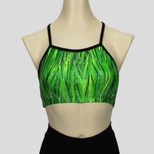 Load image into Gallery viewer, green glittery grass swirls crop top with black straps