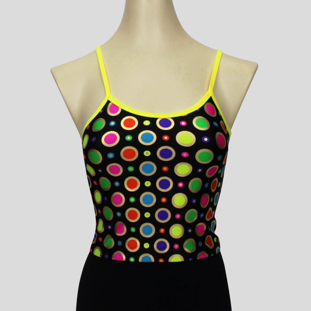 metallic gold ringed rainbow polka dot long crop top with yellow straps