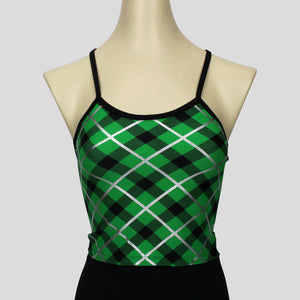 green & black tartan print long crop top with black straps