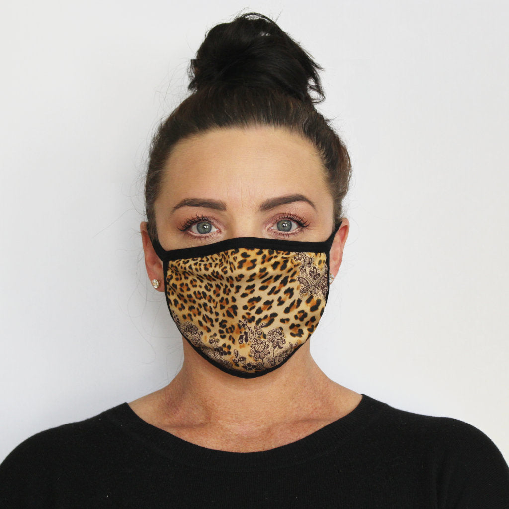 Front view of K-Lee Designs fabric face masks in animal print for women made in Australia