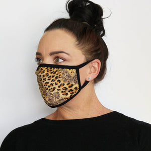 Side view of K-Lee Designs fabric face mask in Animal for women made in Australia