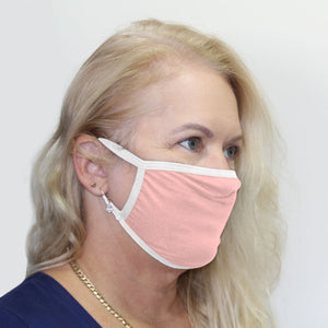 K-Lee Designs anti-bacterial and hypoallergenic Bamboo Face Mask in Light Pink with white trims made in Australia