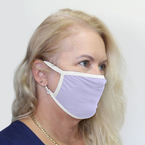 K-Lee Designs anti-bacterial and hypoallergenic Bamboo Face Mask in Lilac with white trims made in Australia