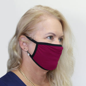 K-Lee Designs anti-bacterial and hypoallergenic Bamboo Face Mask in Mulberry with Black bind made in Australia