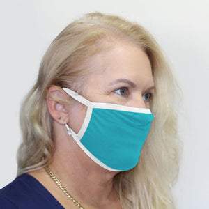 K-Lee Designs anti-bacterial and hypoallergenic Bamboo Face Mask in Seaspray with White bind made in Australia