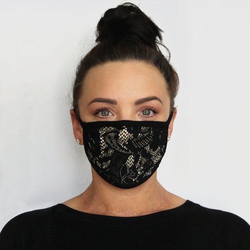 front view k-lee designs limited edition fabric face mask in nude with black lace