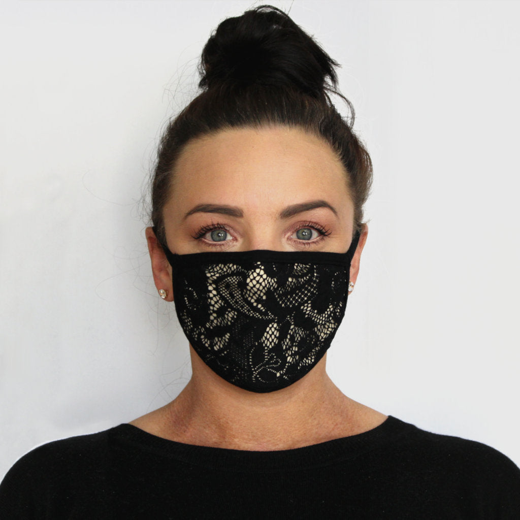 front view k-lee designs limited edition fabric face mask with lace