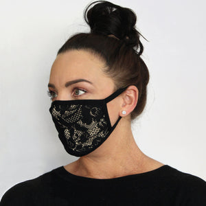 side view limited edition lace fabric face mask made in Australia